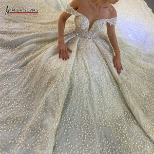 Beautiful lace wedding dress off the shoulder sleeves bridal dresses sexy neckline