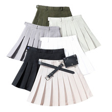 Solid Pleated Mini Skirt Sashes with Pocket Women Skirts High Waist A-Line Mini Skirt Fashion Casual Ladies Girls Sexy Skirts shein kiddie black and white o ring zip gingham print pocket casual girls skirts 2019 summer a line elegant girl mini skirt
