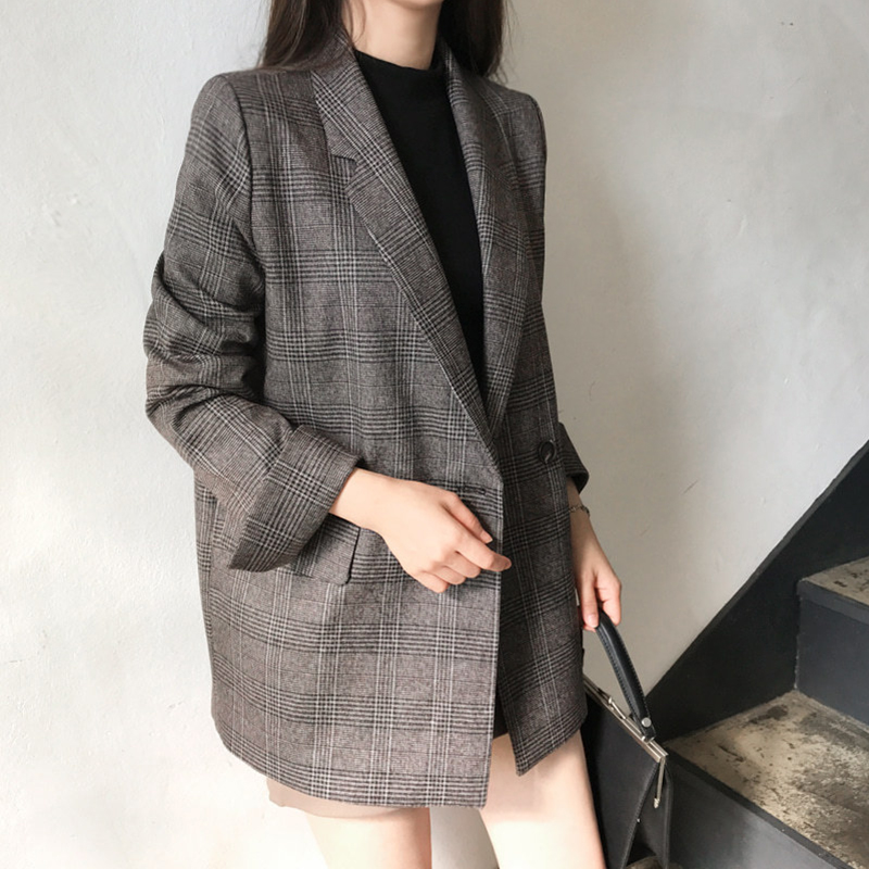 Autumn Women Blazer Casual Vintage Check Cotton Long Sleeve Plaid Blazer, Ladies Checkered Jacket