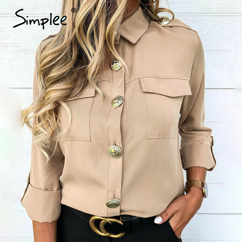Simplee Vintage Solid Elegant Women Blouse Shirt Spring Summer Big Buttons Long Sleeve Female Tops Casual Streetwear Work Top