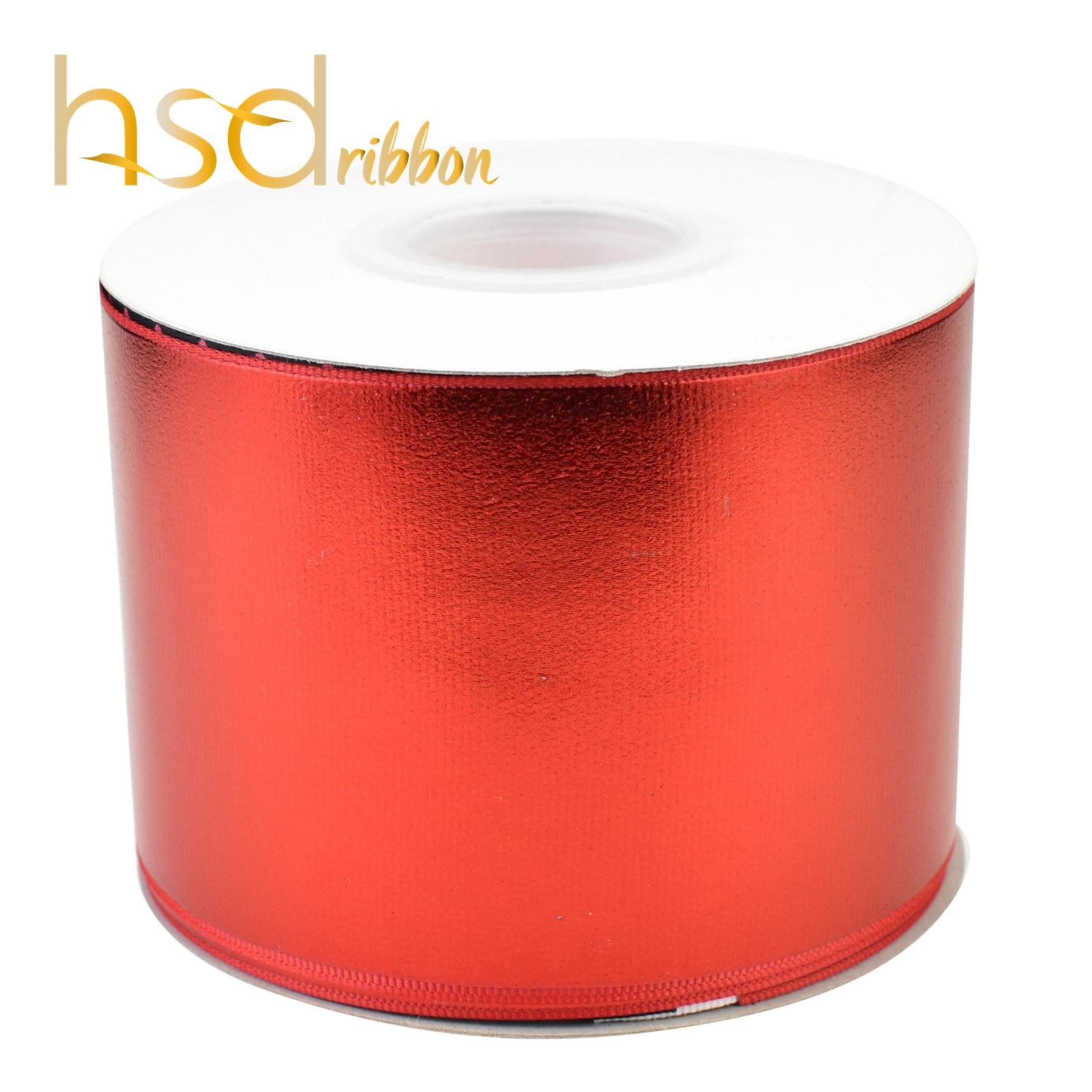 Hsdribbon 75mm 3inch Soild Rood goud folie grosgrain lint-in Linten van Huis & Tuin op  Groep 1