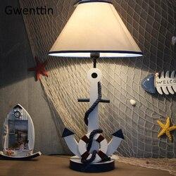 Drewniana kotwica lampa stołowa możliwość przyciemniania stojące biurko oprawy oświetlenia led do pokoju dziecięcego sypialnia studium Luminarias prezent dla dzieci Home Decor