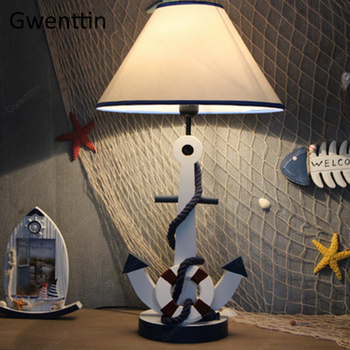 Wooden Anchor Table Lamp Dimmable Standing Desk Led Light Fixtures for Child's Room Bedroom Study Luminarias Kid Gift Home Decor