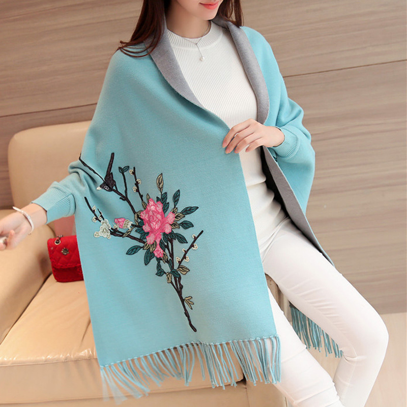 Debutante Retro Chinese-style Autumn And Winter High-End Elegant Flower Embroidery Tassel Sweater Knitted Coat Cloak Shawl Fashi