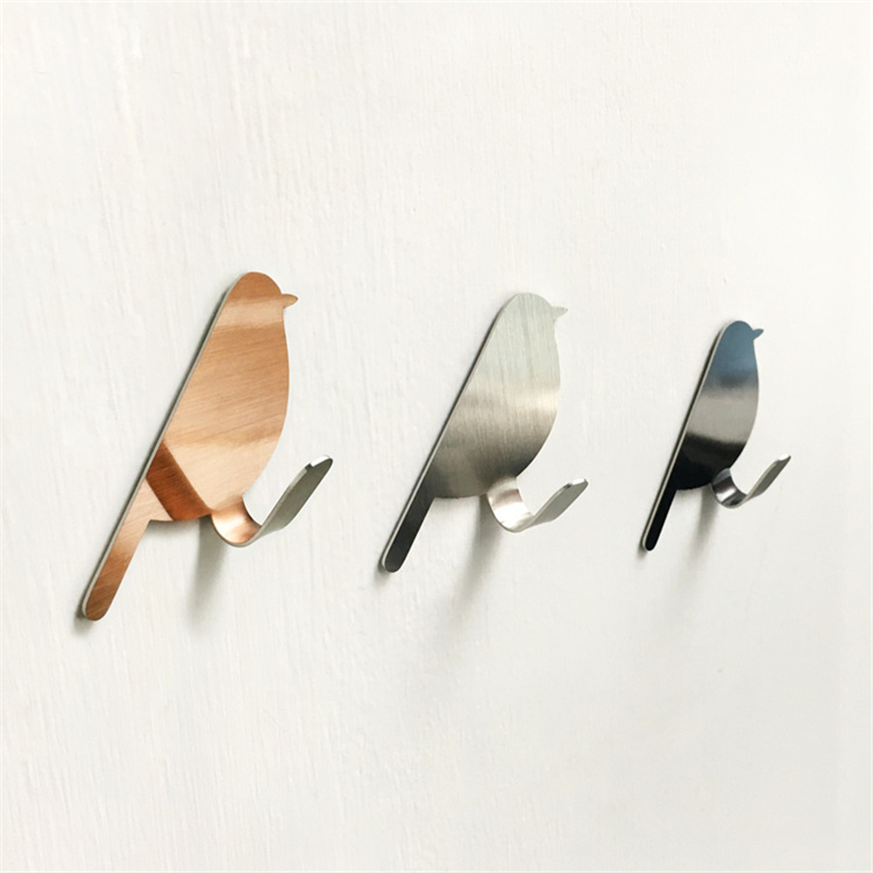 2pc/set Metal Bird Shape Hook Stainless Steel Key Holder Wall Hanger Living Room Household Supplies Home Decoration Accessories