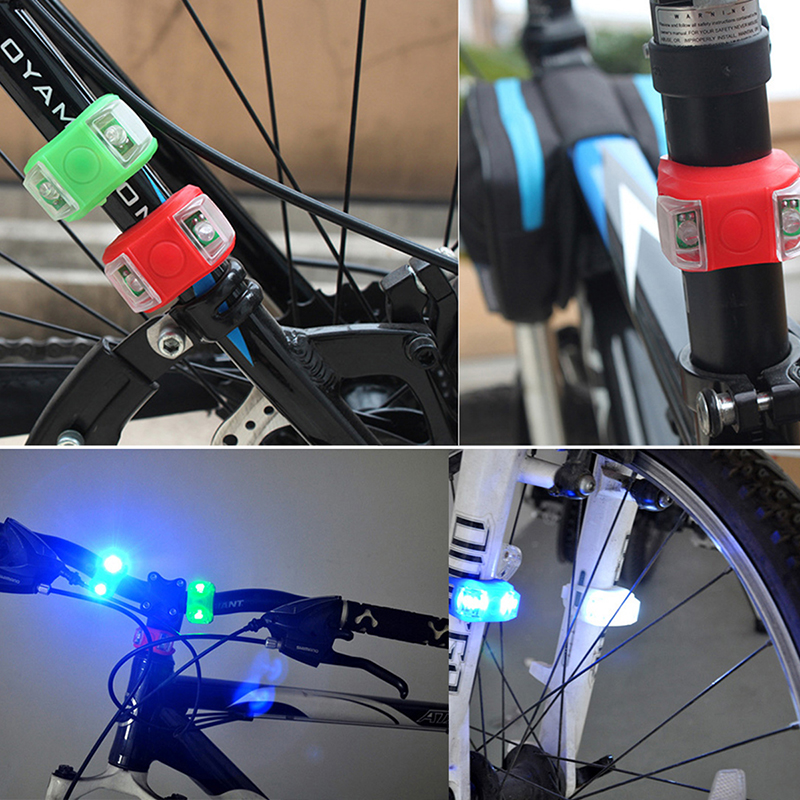 Bicycle Front Light Silicone LED Head Front Rear Wheel Bike Light Waterproof Warning Cycling Lamp Bicycle Reflector Accessories