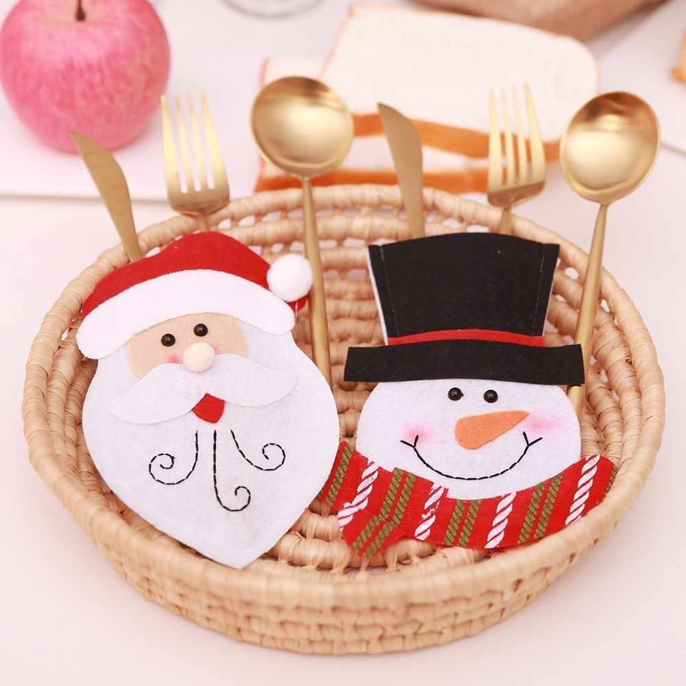 """2020 סנטה כובע איילי חג המולד חדש שנה כיס מזלג סכין סכו""""ם מחזיק תיק בית המפלגה שולחן ארוחת ערב קישוט כלי שולחן"""