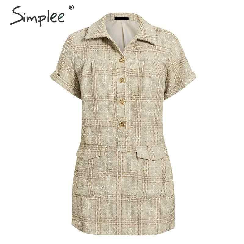 Simplee Vintage плед женское платье из твида с коротким рукавом карманы женские мини платья Элегантные осенние офисные женские платья