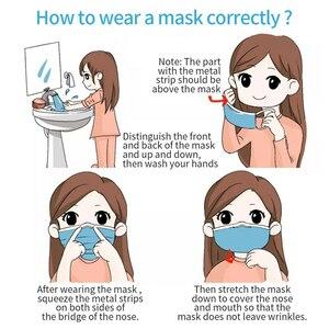 Image 5 - Envio rápido! Máscara de 3 camadas para boca de rosto, 100 peças, não tecido, descartável, anti poeira, máscara de pano soprado para adultos missionfit,
