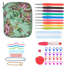 45 Pcs Crochet Hook Set Ergonomic Soft Handle Needles Sweater Knitting Kit DIY Clothes Scarf with Bag