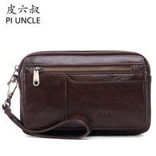 PI UNCLE Brand Gennuine Leather Casual Business Day Clutch Bag Men Envelope Cell Phone Pouch Wallet Case Wristlet Handhold Bags
