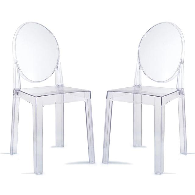 6 PCS Modern Dining Chairs Set Acrylic Chairs Clear Ghost Victoria Dining & Vanity Dressing Chair For Kitchen Office Dining Room 2