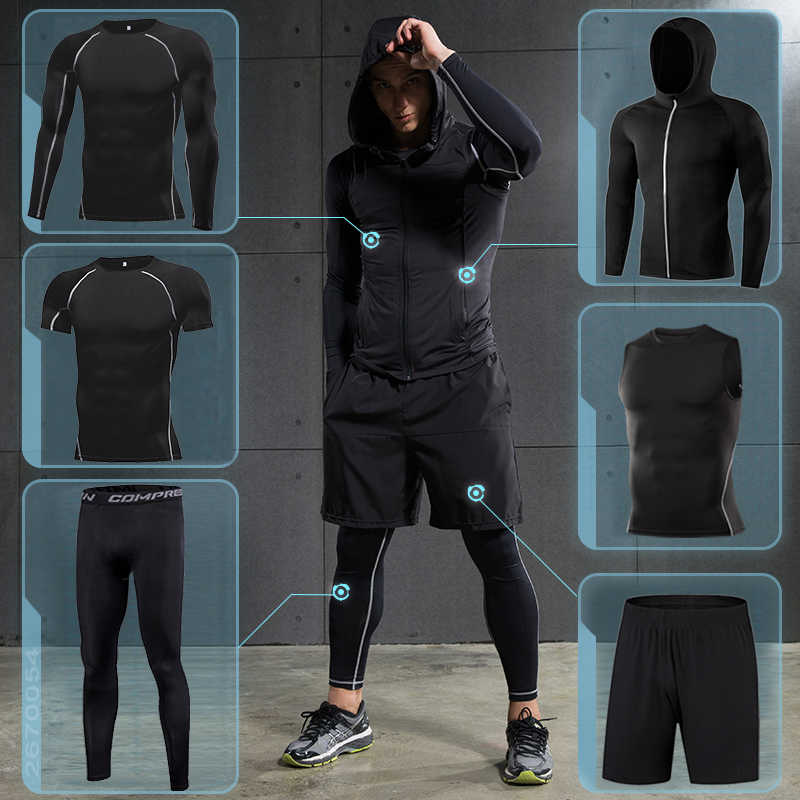 5 in 1 Men/'s Tracksuit Gym Compression Clothes Pants Football Running Sportswear
