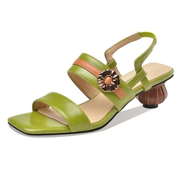 brand fashion women summer sandals brown green shoes woman high heels sandals sexy summer slides ladies casual dress shoes 34-42