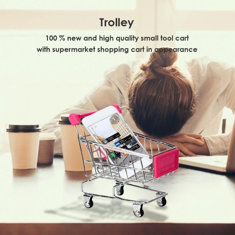 Mini Shopping Cart Decor Handcart Storage Baby Hand Supermarket Hand Trolley Trolley Toy Gift Dollhouse Furniture Ornaments