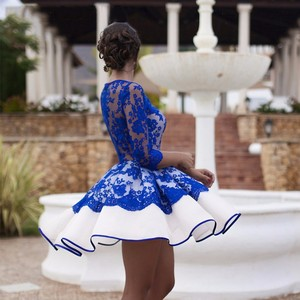 2020 Charming Short Cocktail Dress New Robes De Cocktail Back See Through Illusion Royal Blue Short Prom Party Gowns