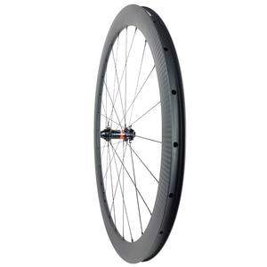 Image 4 - 1360g 700c 42mm asymmetric road disc carbon wheels 25mm U shape clincher tubeless straight pull Novatec D411SB D412SB 6 bolt CL