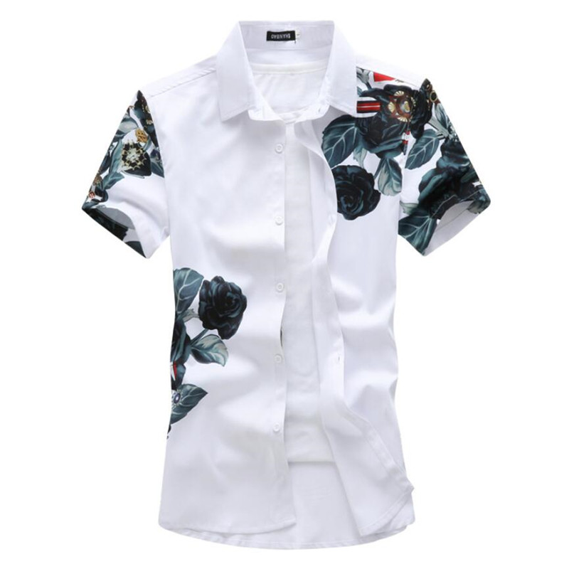 2020 Summer Brand Original Rose Splash Ink Printing Men's Casual Short-sleeved Shirts Mens Fashion White Shirt Dress