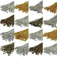 100 pçs pinos de metal encontrando jóias que fazem componentes calibre muitos estilo headpins pinos ballpins para diy contas pulseiras