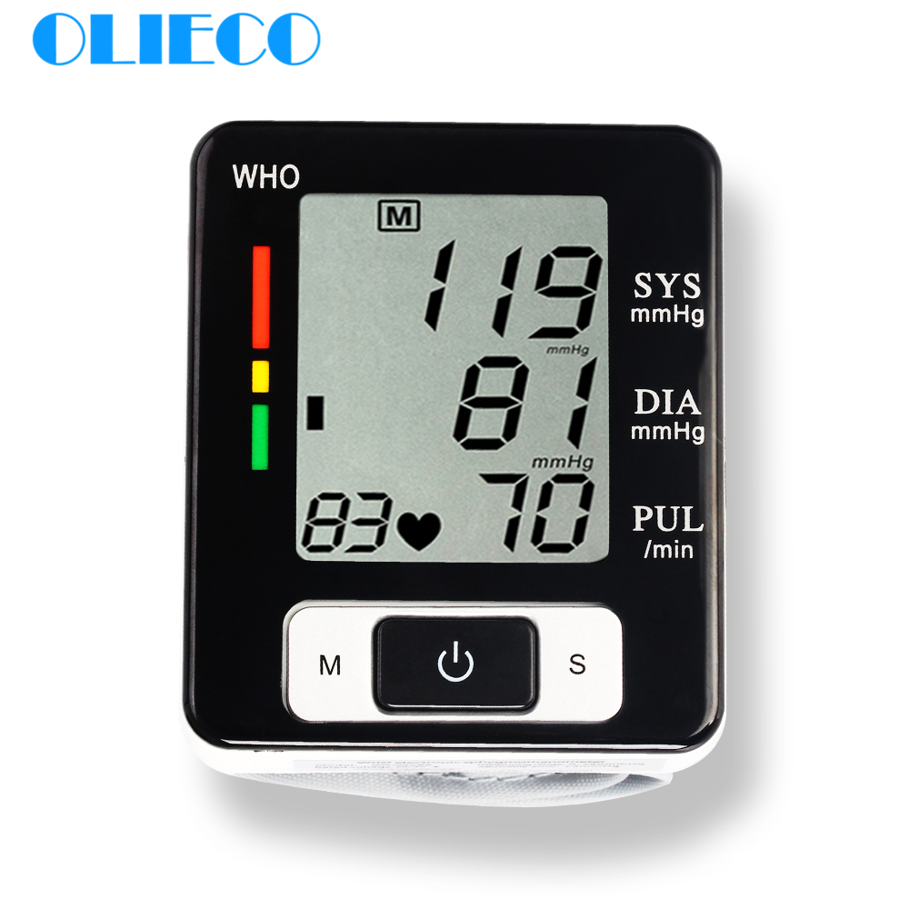 OLIECO Cuff Automatic Digital Wrist Blood Pressure Monitor OLI-W133 LCD Display BP Tonometer Pulse Rate Heart Beat Rate Meter CE