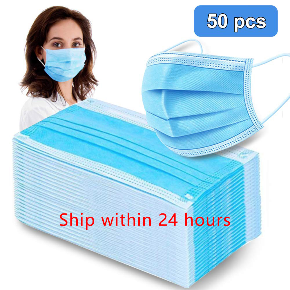 20/50/100pcs Blue Mask Mouth 3 Layers Activated Bamboo Carbon Prevent Anti-Dust Bacteria Repeatability Civil Mouth Face Mask