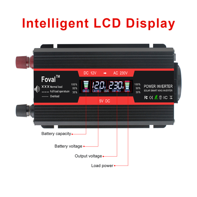4000W power inverter Modified Sine Wave LCD display DC 12V to AC 220V Solar 2 USB car Transformer Convert EU socket 5