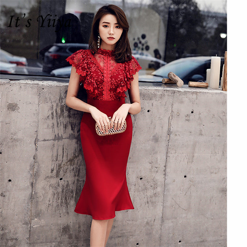 It's YiiYa   Cocktail     Dress   Flowers Woman Burgundy Lace Party Gowns   Cocktail     Dresses   2019 Knee Length Trumpet Robe   Cocktail   E797