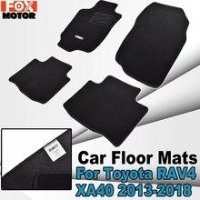 Full Set For Toyota RAV4 XA40 2013-2018 Car Floor Mats Front Rear Carpets Black Nylon