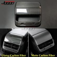 Real Carbon Fiber Für Tesla Modell 3 Modell Y 2021 Auto Innen Armlehne Hinten Sitz Klimaanlage AC Vent Outlet abdeckung Trim Molding
