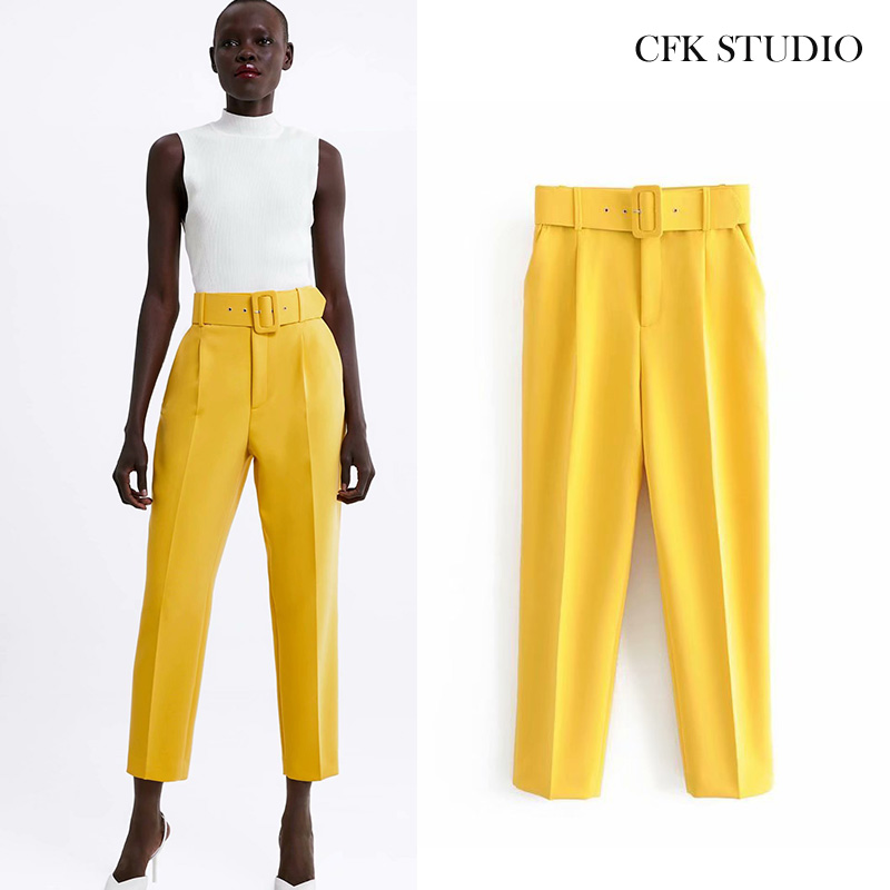 Za 2020 New Women Long Pants With High Wasit Belt Harem Pant Solid Candy Color England Casual Summer Ankle Length Yellow Trouse