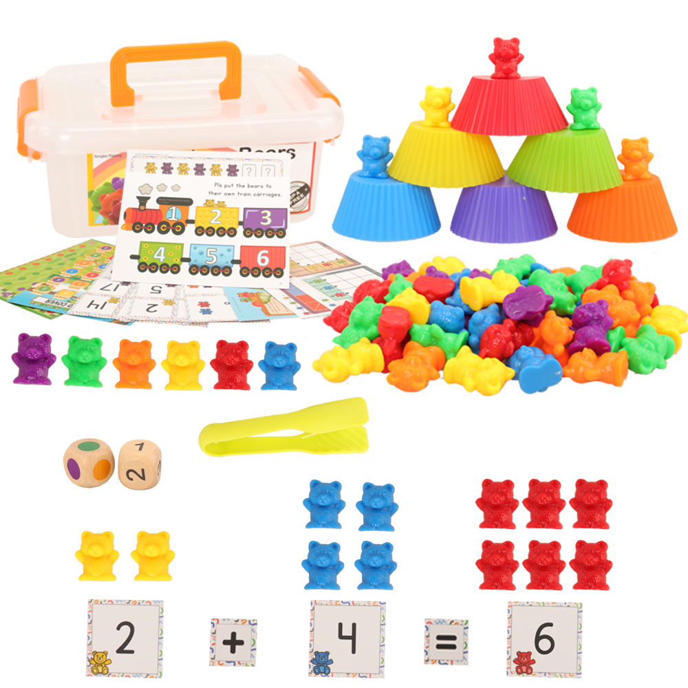 84 Items/Set  Kids Toys = 60 Math Counting Bear + 6 Matching Cups +9 Activity Cards +5 Games Cards + 2 Dice + 1 Box + 1 Tweezers