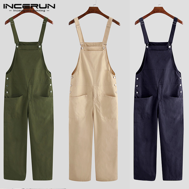 2021 Men Bib Pants Solid Color Casual Jumpsuits Streetwear Joggers Multi Pockets Fashion Suspenders Men Cargo Overalls INCERUN 5