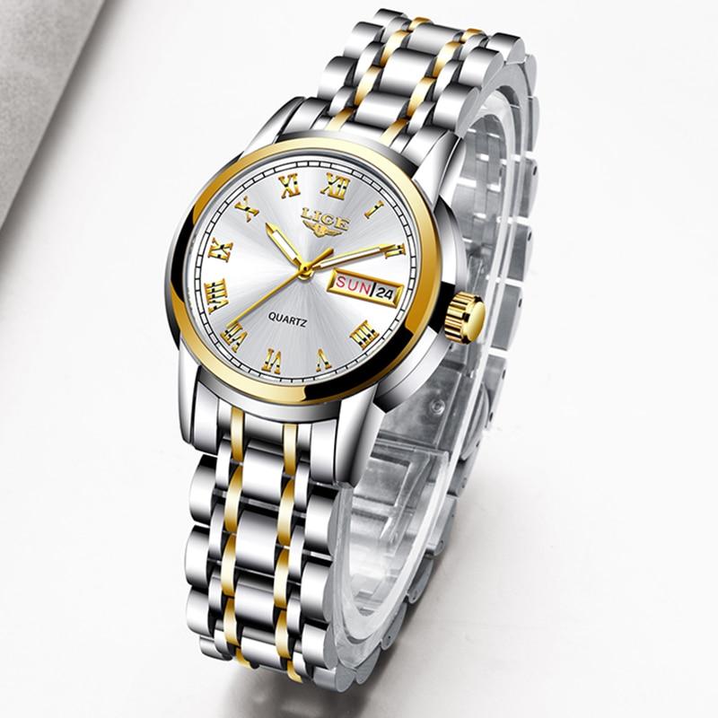 LIGE 2020 New Gold Watch Women Watches Ladies Creative Steel Women's Bracelet Watches Female Waterproof Clock Relogio Feminino 4