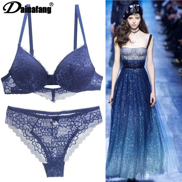 [Hot sales] New 2020 Lace Drill Bra Set Women Plus Size Push Up Underwear Set Bra And Thong Set 34 36 38 40 42BCD Cup For Female 1