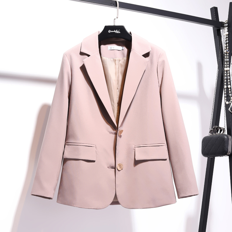 Temperament casual women's blazer 2019 new autumn single-breasted solid color loose jacket suit female Office top high quality