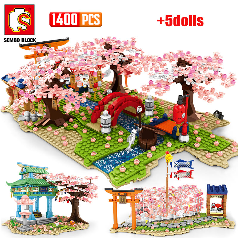 City Street View Sakura Inari Shrine Building Blocks Friends Cherry Blossom Creator House Tree Construct Brick Toys for Children