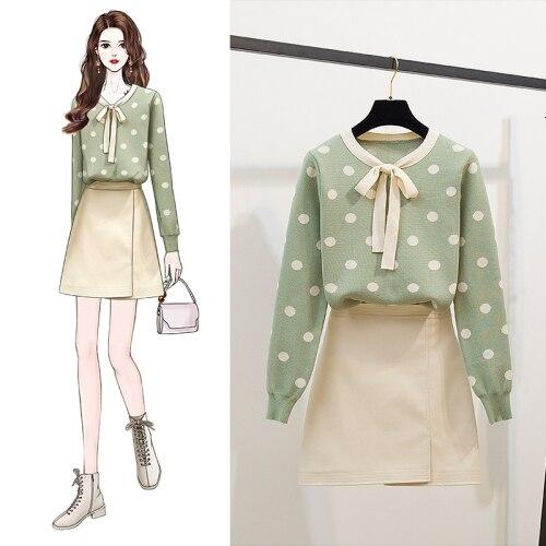 2019 New Hot Sale Women Autumn 2-Piece Sets Bow Polka Dot Knitted Tops+High Waist Woolen Mini Skirt Clothing Set