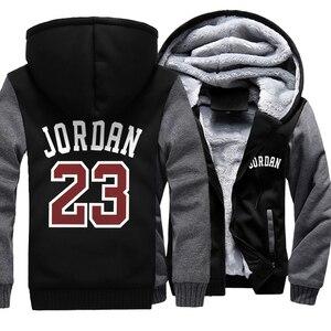 Image 2 - Mens Jacket Hoody Jordan 23 Gedrukt Hoodies Mannen Dikke Warme Rits Jassen 2019 Herfst Winter Camouflage Militaire Streetwear Hoodie