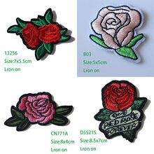 Роза с листочками в любовь Вышитые заплаты для одежды diy полосатая