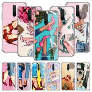 High Heeled Shoes Girl Women Case For Xiaomi Redmi Note 9S 9 8T 8 9A 9C 7 7A K30 Pro Zoom Airbag Anti-Fall TPU Phone Coque Sac