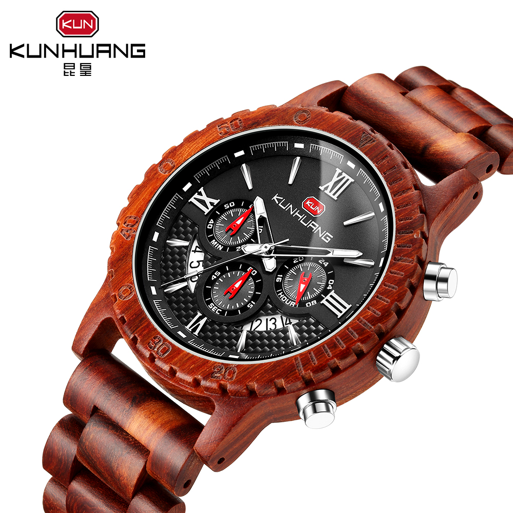 Wooden Limited Watch Men's Mature Leisure Sports Luxury Brand Luminous Multi-function Wild Quartz Watch Boyfriend Gift