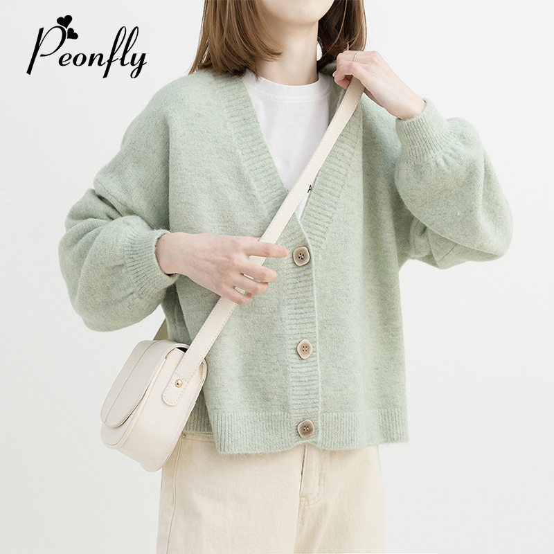 PEONFLY Green  Yellow Short Cardigan Women 2019 Autumn Single Breasted Long Sleeve Loose Caridgan Female Knitted Jacket Women
