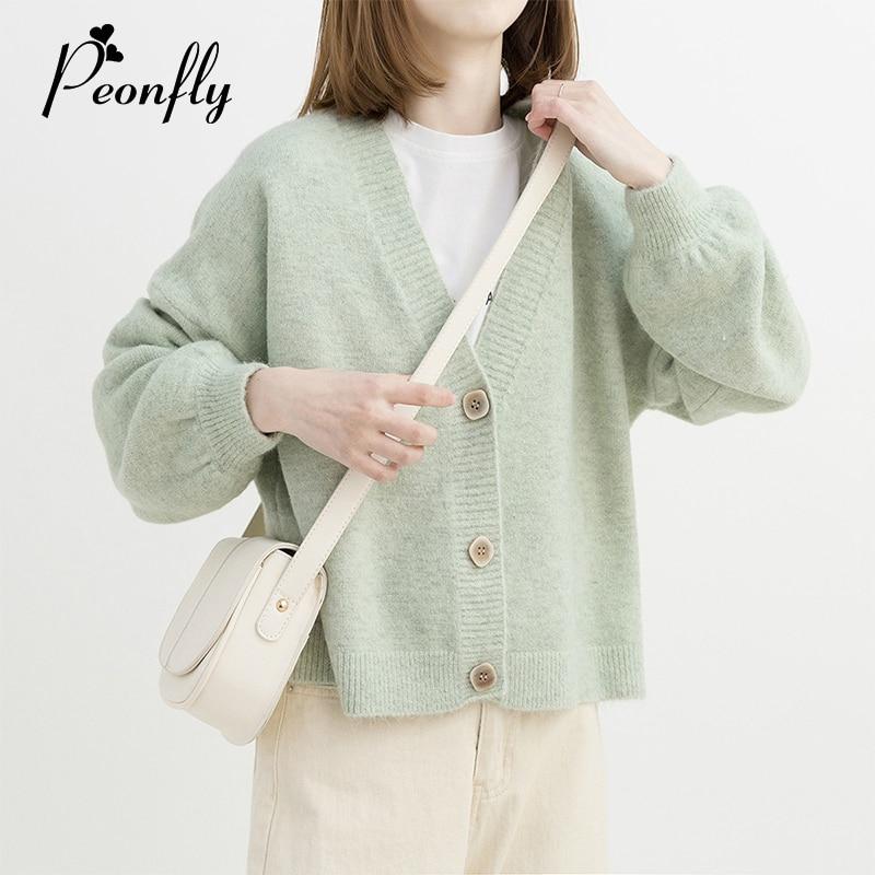 PEONFLY Green  Yellow Short Cardigan Women 2019 Autumn Single Breasted Long Sleeve Loose Caridgan Female Knitted Jacket Women