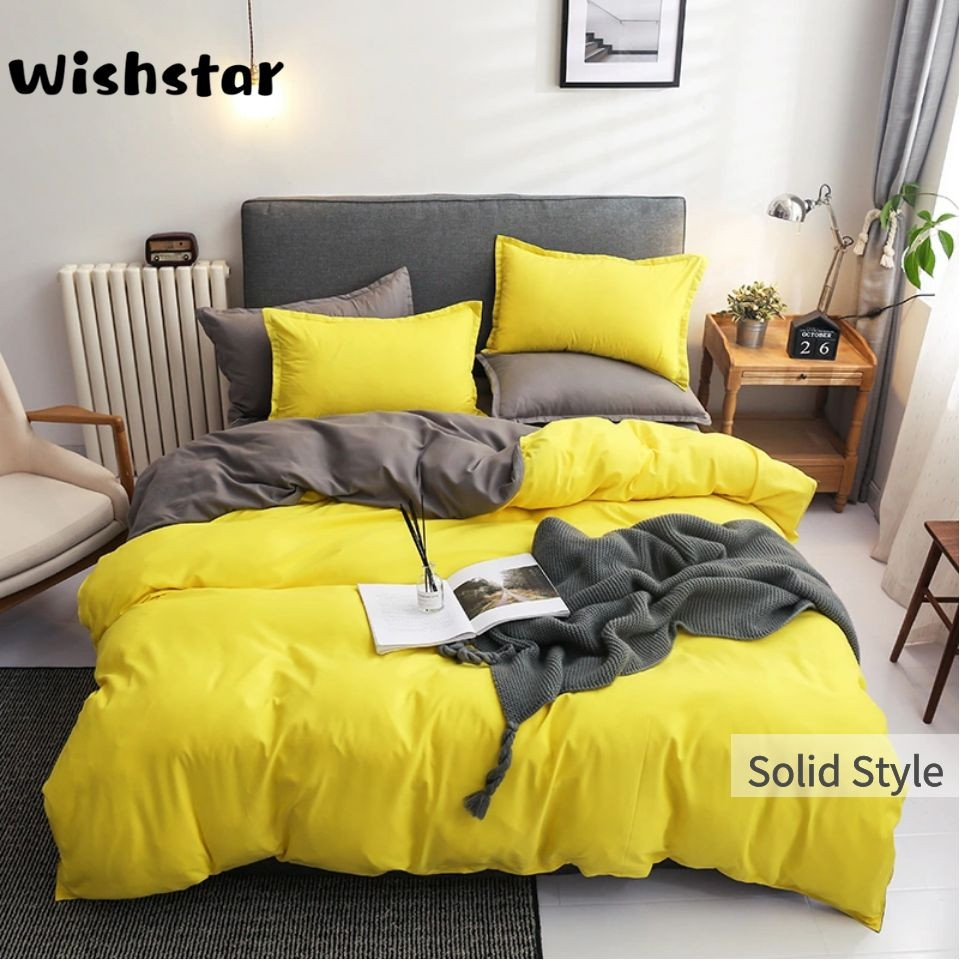 Wishstar Simple Solid AB Side Bedding Set Men Women Twin Queen Quilt Cover Set Of Bed Linen With Sanding Bed Sheet Nordic