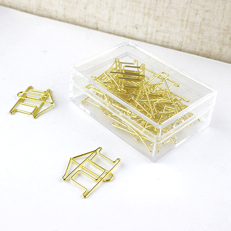 Gold House Paper Clip Shape House Pin Gold Office Supplies Folder Stationery Paper Clips Office Accessories Klips Paperclip