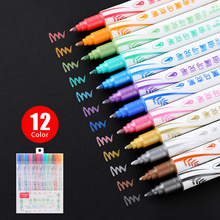double head metal pen 12 color soft head line drawing flash color stationery back to school educational painting supplies art