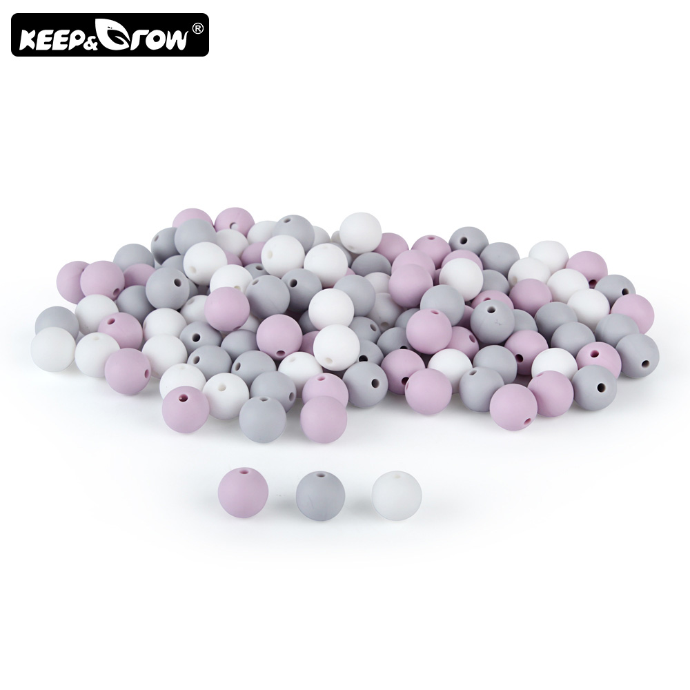 Keep&Grow 15Pcs/Lot 12mm Silicone Beads Round Baby Teething Beads DIY Necklace Making BPA Free Silicone Teethers Nursing Toys