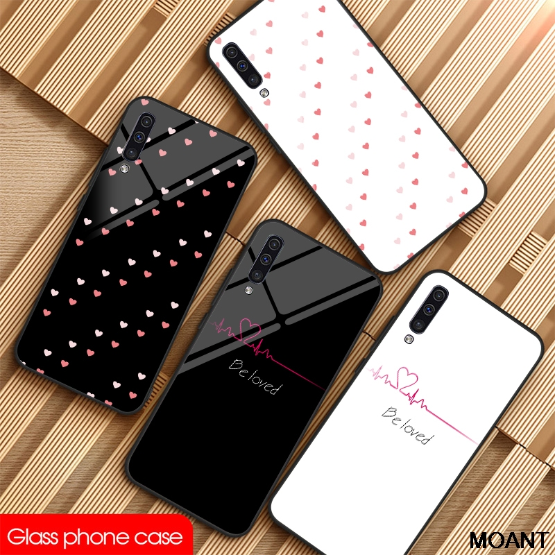 Custom Glass Phone Case For samsung Note 8 9 10Plus S8 9 S10E Phone Cover DIY For Galaxy A10 20 30 40 50 60 70 80 Love Heart 9H image
