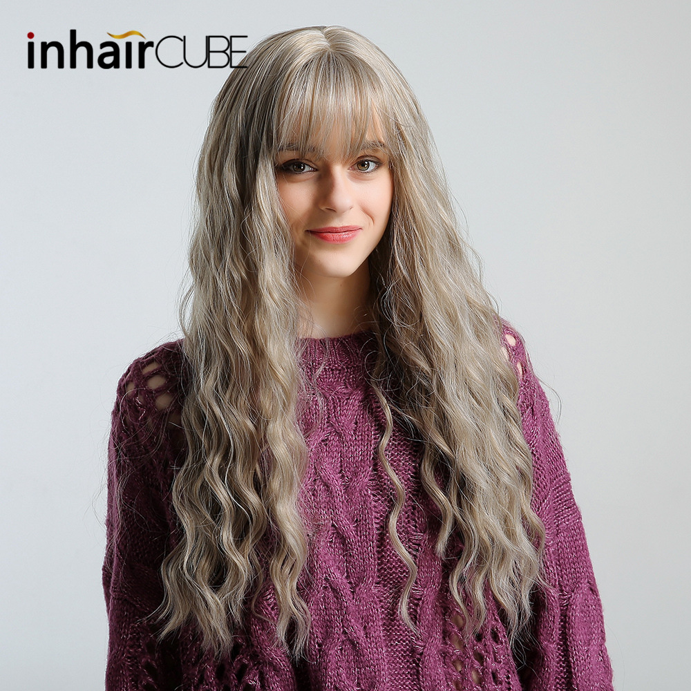 Inhaircube Long Curly Ombre Blonde Brown Womens Wigs With Bangs Synthetic Hair Lolita Wig Cosplay Natural Hair For Black Women