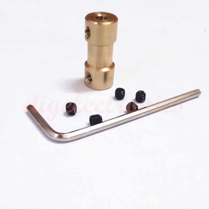Double-HEAD 2/3/3.17/4/5/6 มม.ทองเหลืองข้อต่อเพลามอเตอร์แบบยืดหยุ่น coupler มอเตอร์เกียร์เชื่อมต่อไดรฟ์เพลา